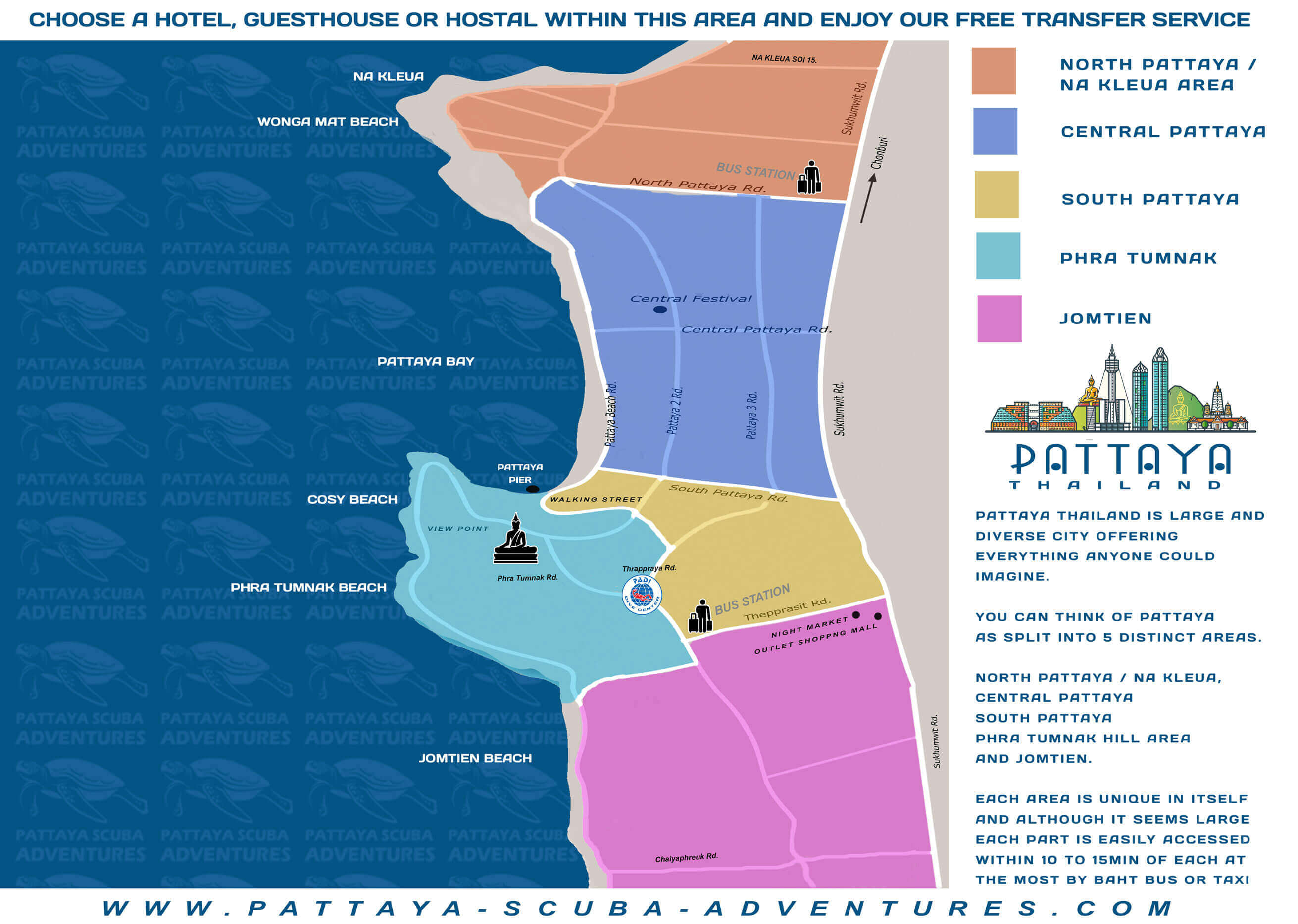 FAQ : Pattaya Area Map l Where To Stay In Pattaya